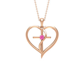 Created Pink Sapphire Necklace