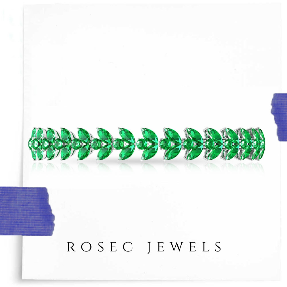 9.25 CT Round and Marquise Emerald Bolo Bracelet