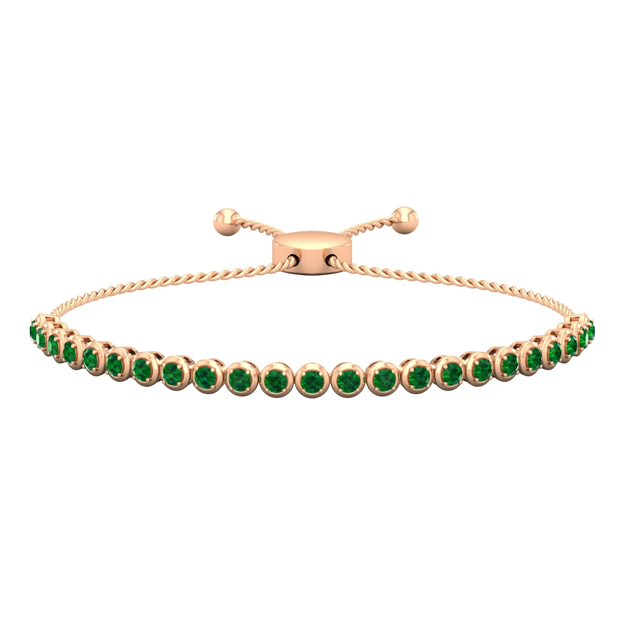 1.50 CT Round Cut Emerald Bolo Bracelet in Prong Setting