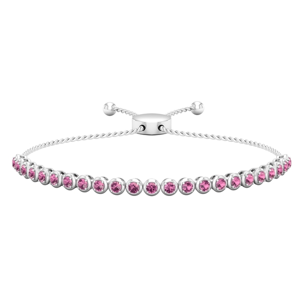 1.75 CT Pink Tourmaline Rope Chain Tennis Bolo Bracelet for Women