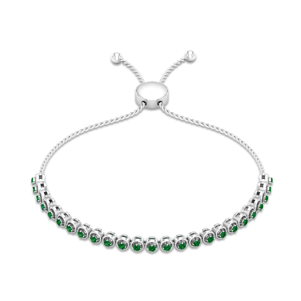 1 CT Round Cut Emerald Simple Bolo Bracelet in Prong Setting