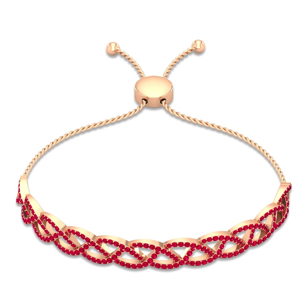 2 CT Round Cut Ruby Braided Bangle Bolo Bracelet in Pave Setting