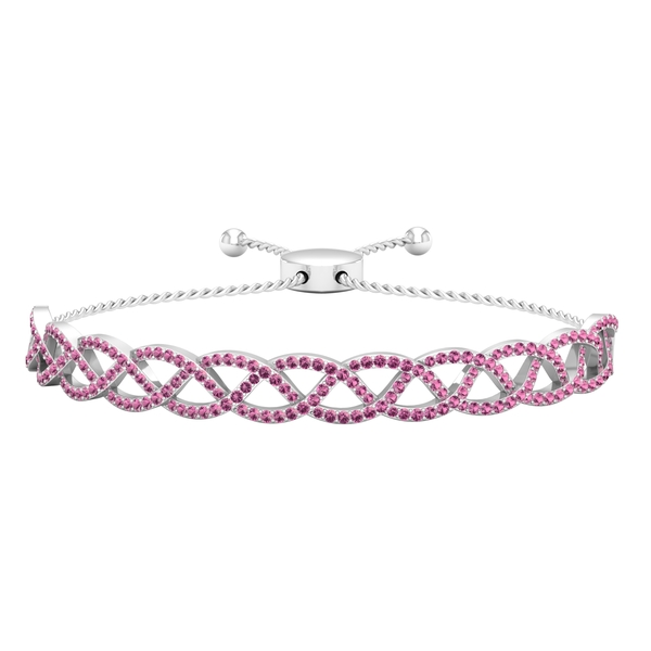1.75 CT Pave Set Pink Tourmaline Rope Chain Bolo Bracelet for Women