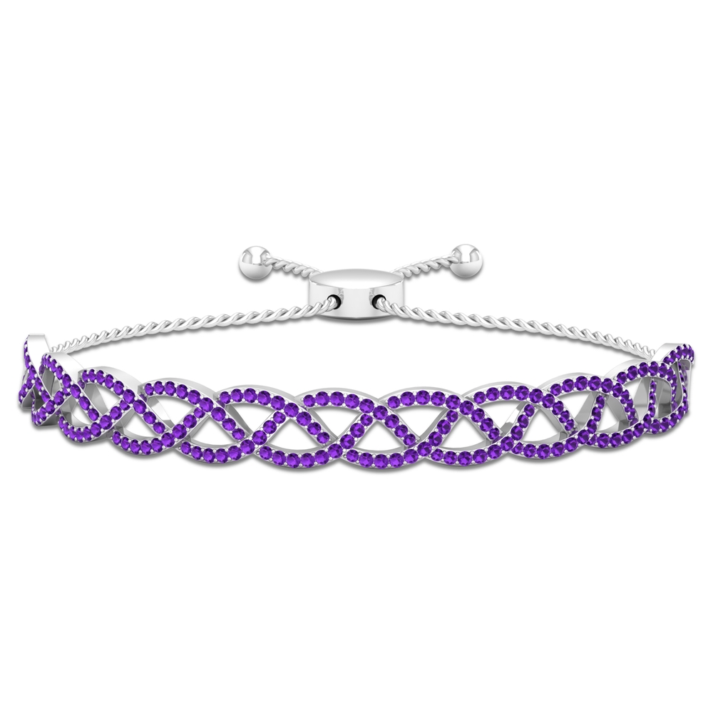 1.75 CT Pave Set Amethyst Rope Chain Bolo Bracelet for Women