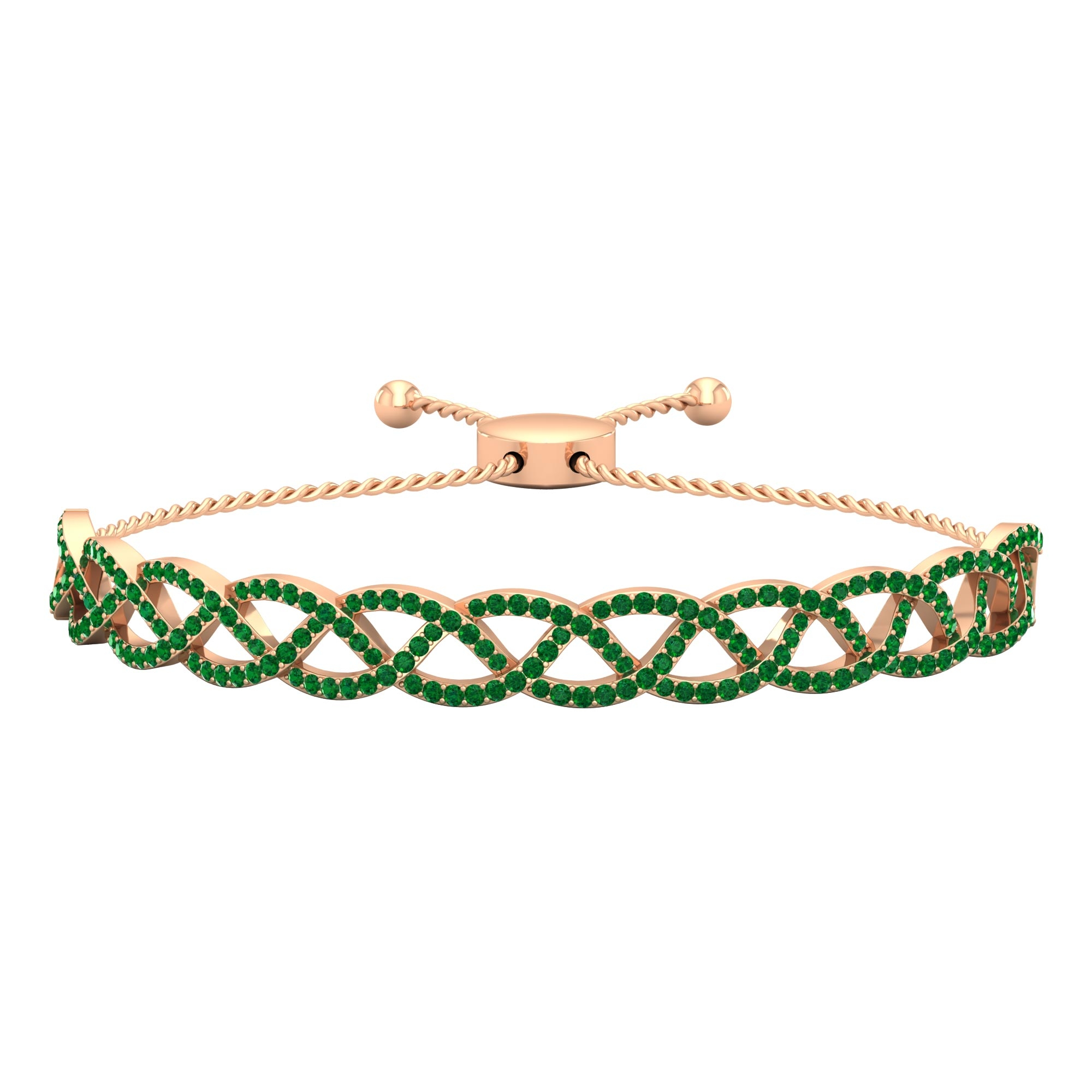 1.75 CT Round Cut Emerald Braided Bangle Bolo Bracelet in Pave Setting