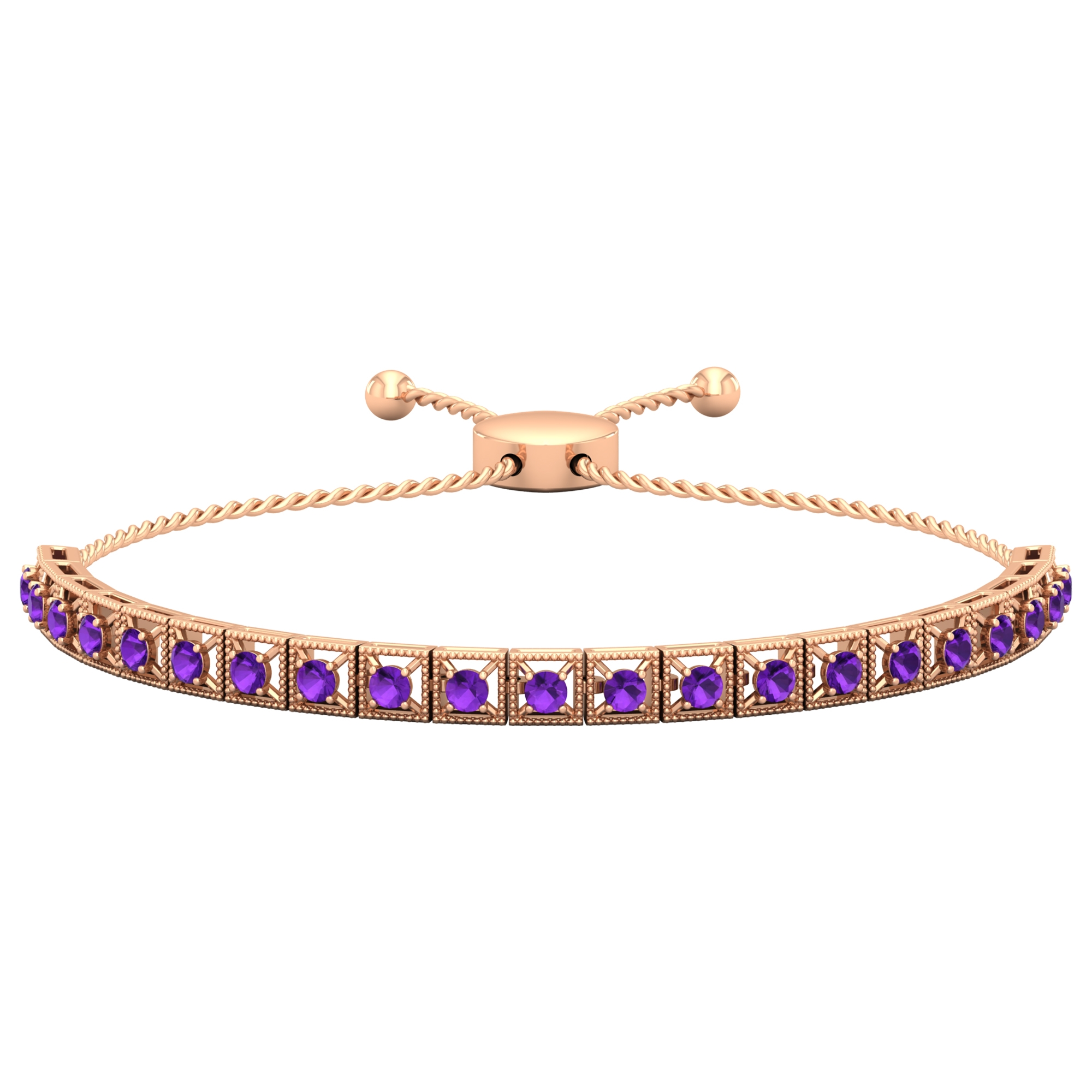 1.50 CT Amethyst Rope Chain Tennis Bolo Bracelet with Gold Milgrain Detailing