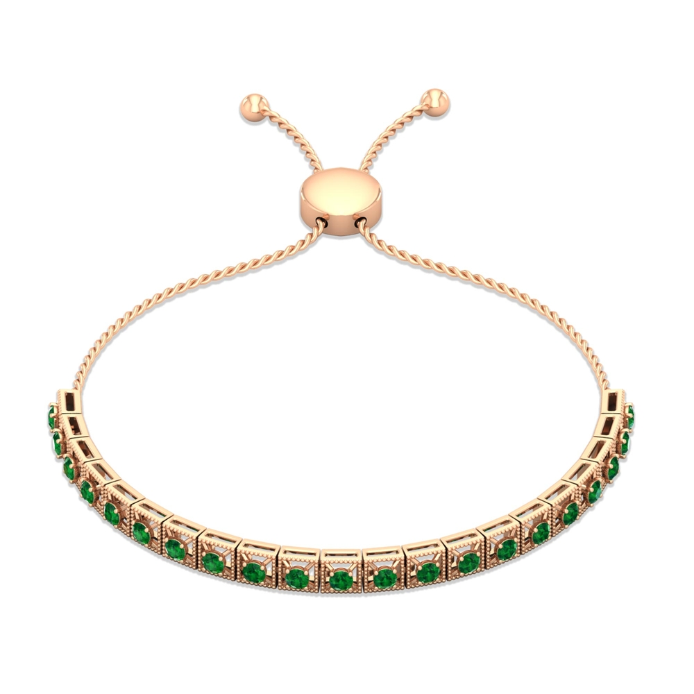 1.50 CT Round Cut Emerald Tennis Bolo Bracelet in 4 Prong Setting with Milgrain Details