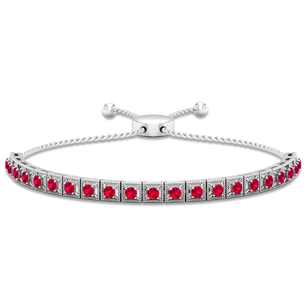 1.50 CT Ruby Rope Chain Tennis Bolo Bracelet with Gold Milgrain Detailing