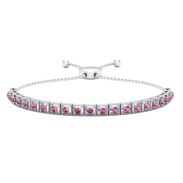 1.50 CT Pink Tourmaline Rope Chain Tennis Bolo Bracelet with Gold Milgrain Detailing