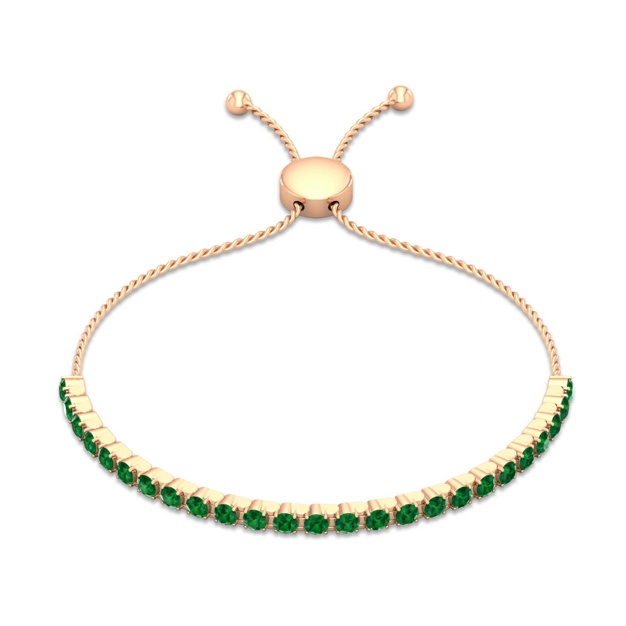 3 CT Round Cut Emerald Tennis Bolo Bracelet in Prong Setting