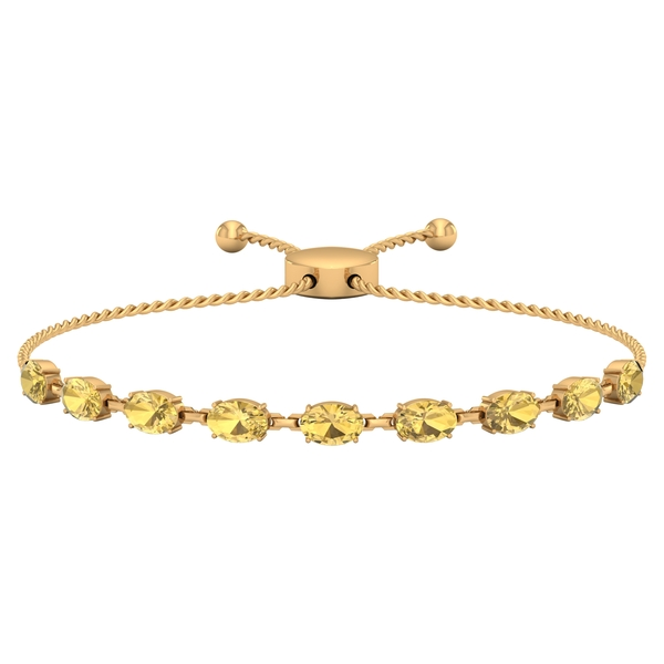 4.50 CT Oval Cut Citrine East West Rope Chain Bolo Bracelet for Women