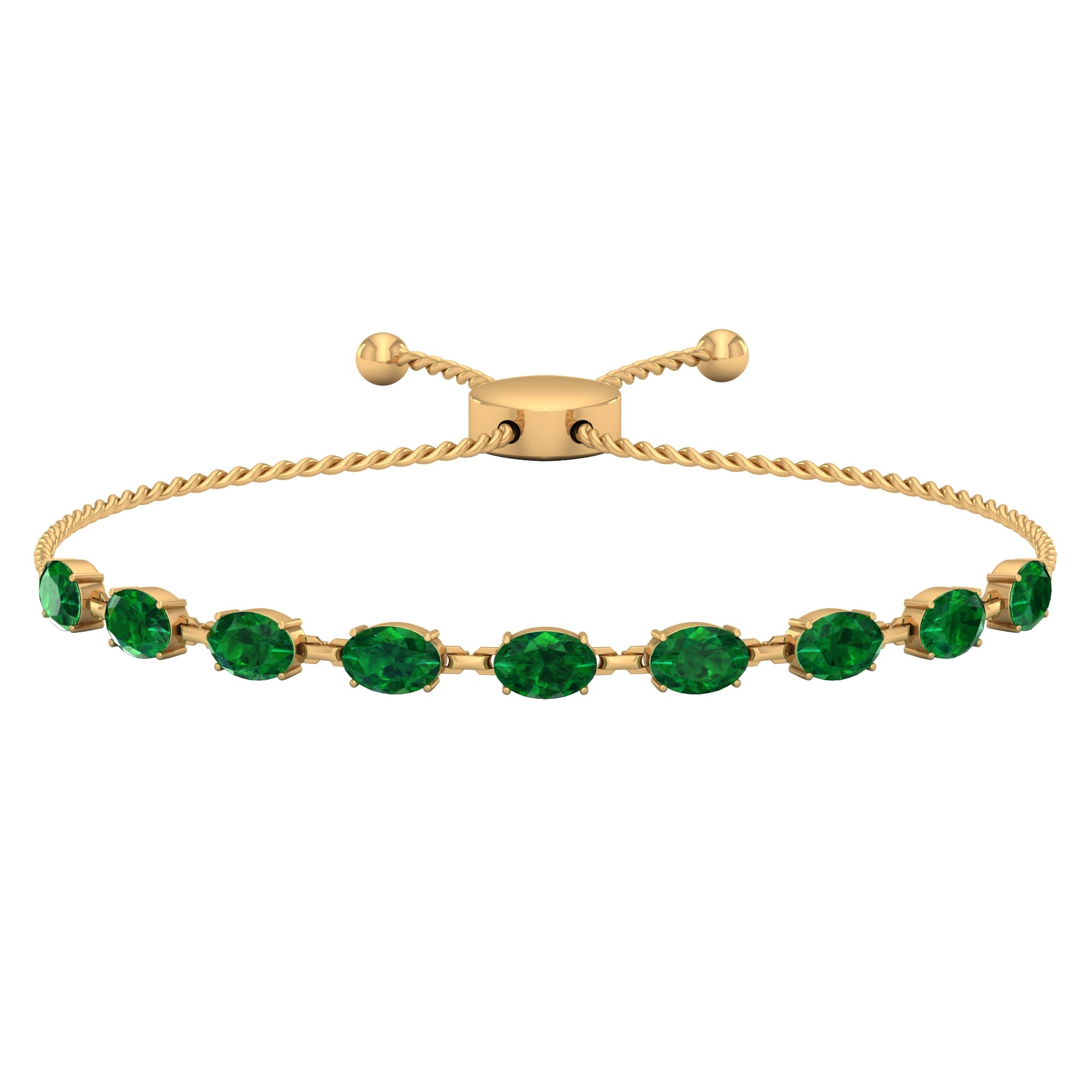 4.75 CT Oval Cut Emerald East West Bolo Bracelet in Prong Setting