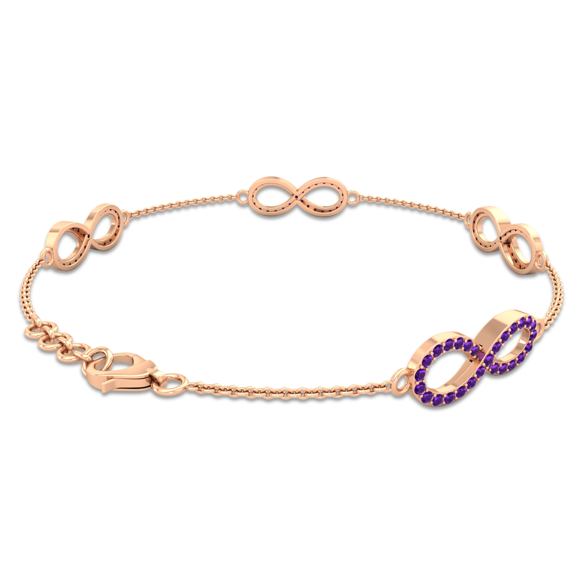 3/4 CT Amethyst Accent Infinity Chain Bracelet For Women