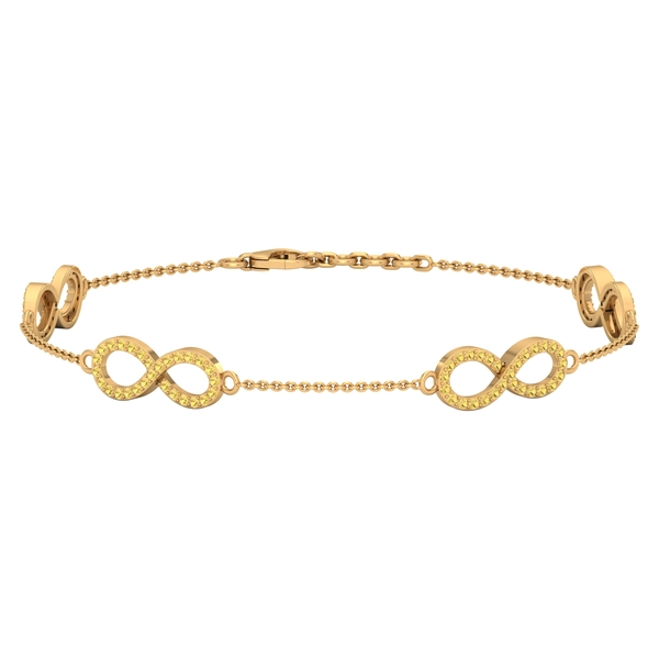 3/4 CT Citrine Accent Infinity Chain Bracelet For Women