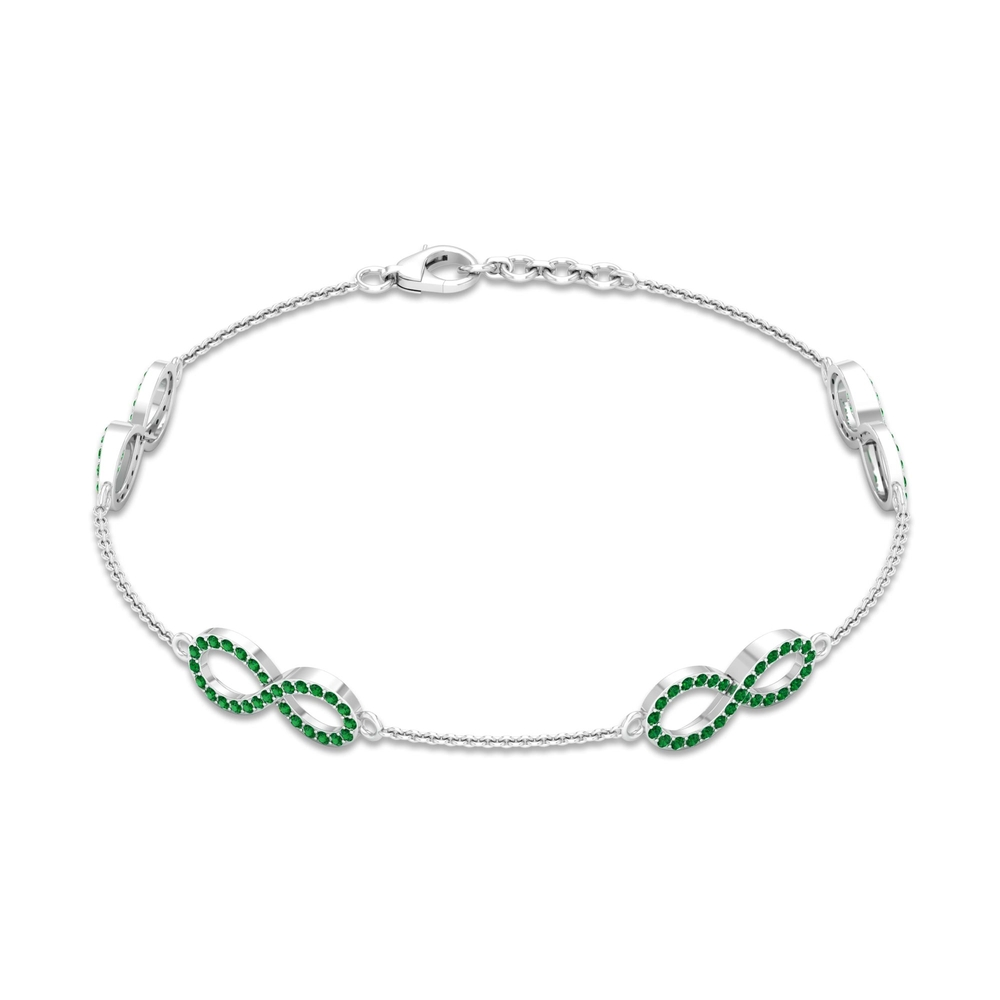 May Birthstone 0.75 CT Emerald Infinity Love Chain Bracelet for Women