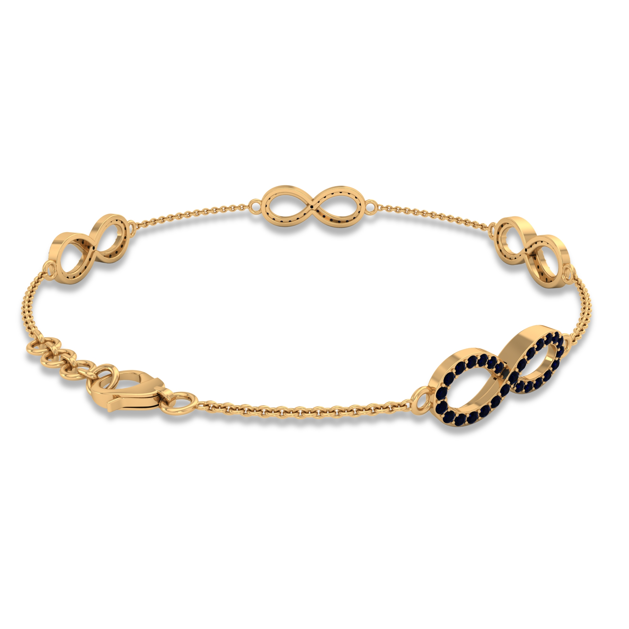3/4 CT Blue Sapphire Accent Infinity Chain Bracelet For Women