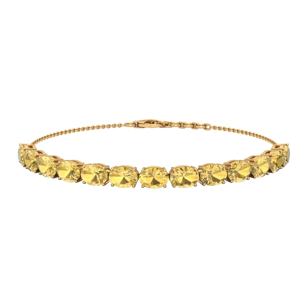 11 CT Oval Cut Citrine East West Rope Chain Bolo Bracelet for Women