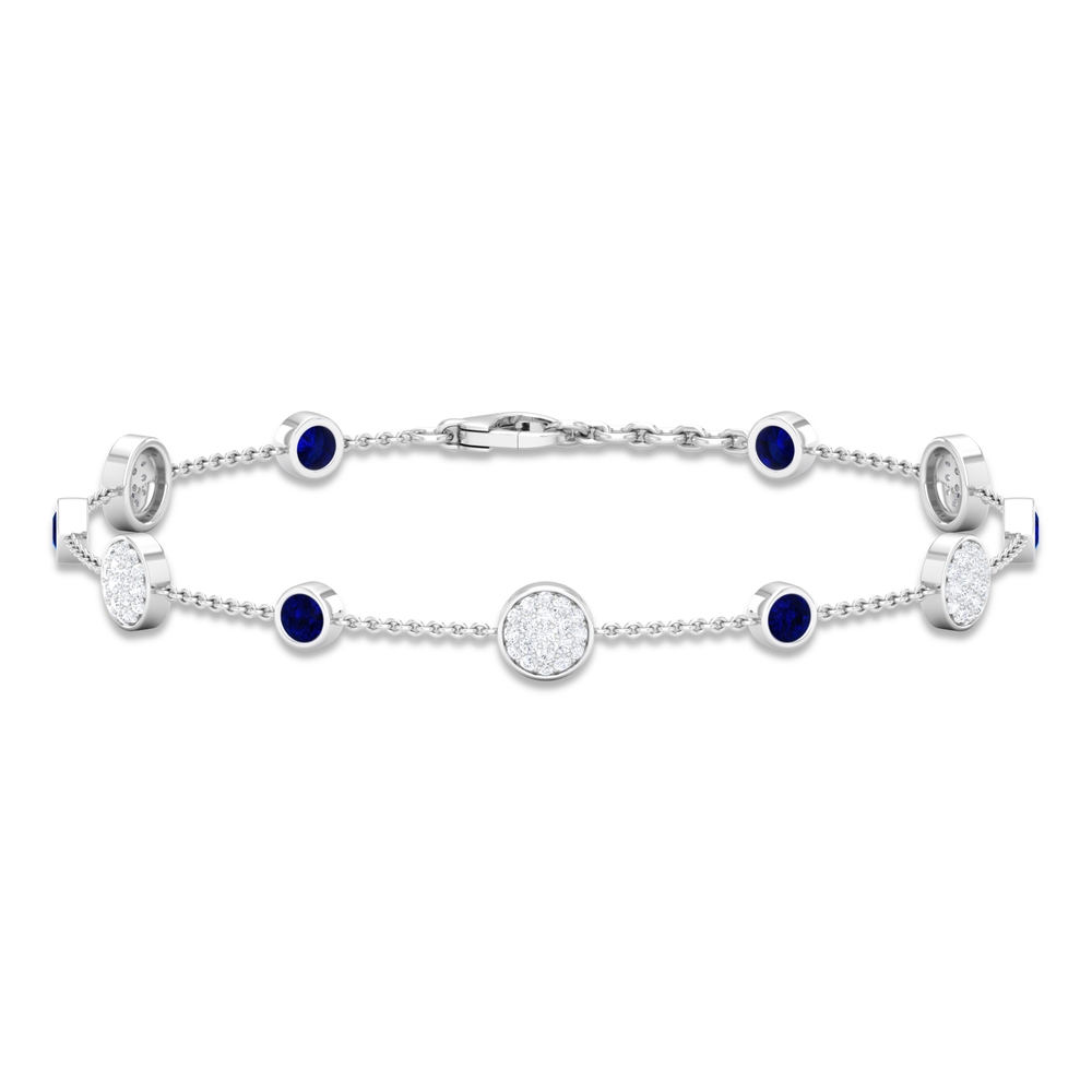 1.50 CT Blue Sapphire and Diamond Station Chain Bracelet for Women