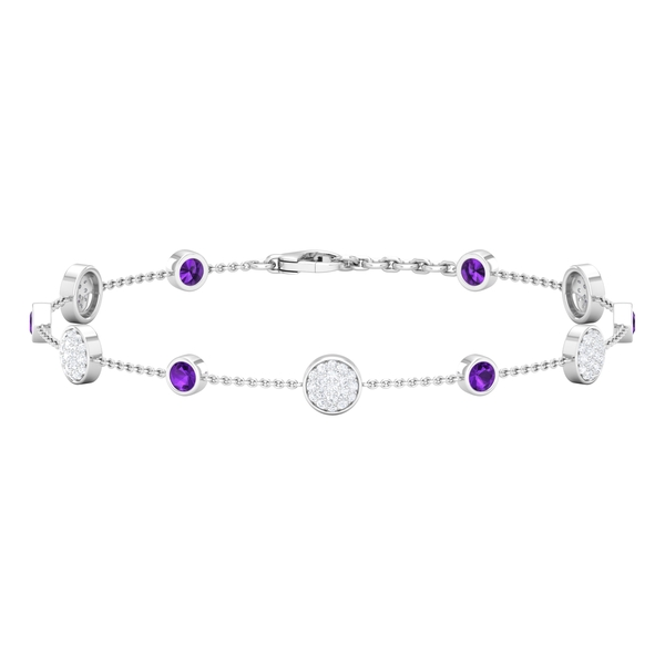 1.25 CT Amethyst and Diamond Station Chain Bracelet for Women