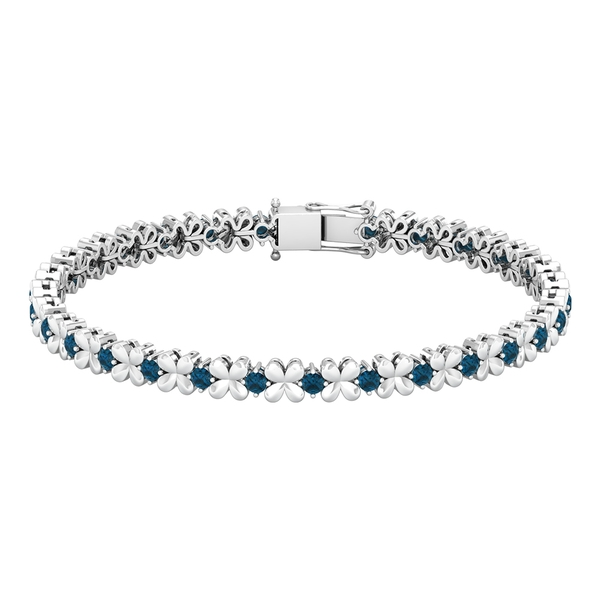 Floral Tennis Bracelet with 2.50 CT London Blue Topaz in Prong Setting