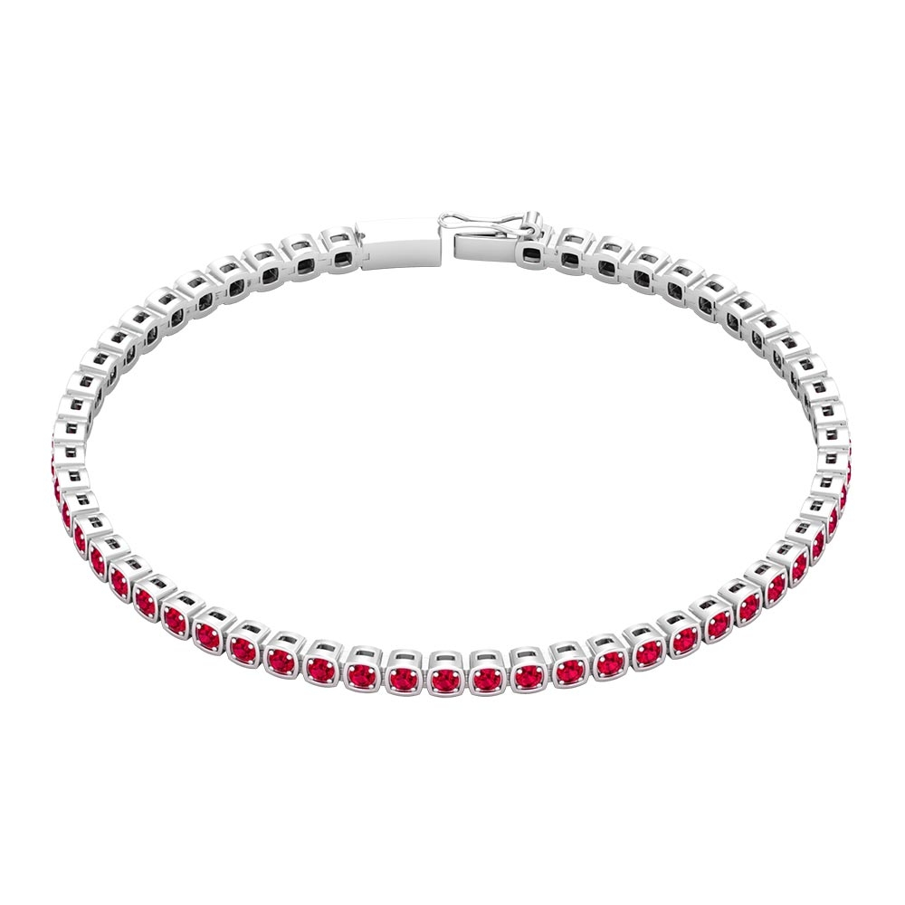 2 CT Round Cut Ruby Tennis Bracelet in Prong Setting for Unisex Adult