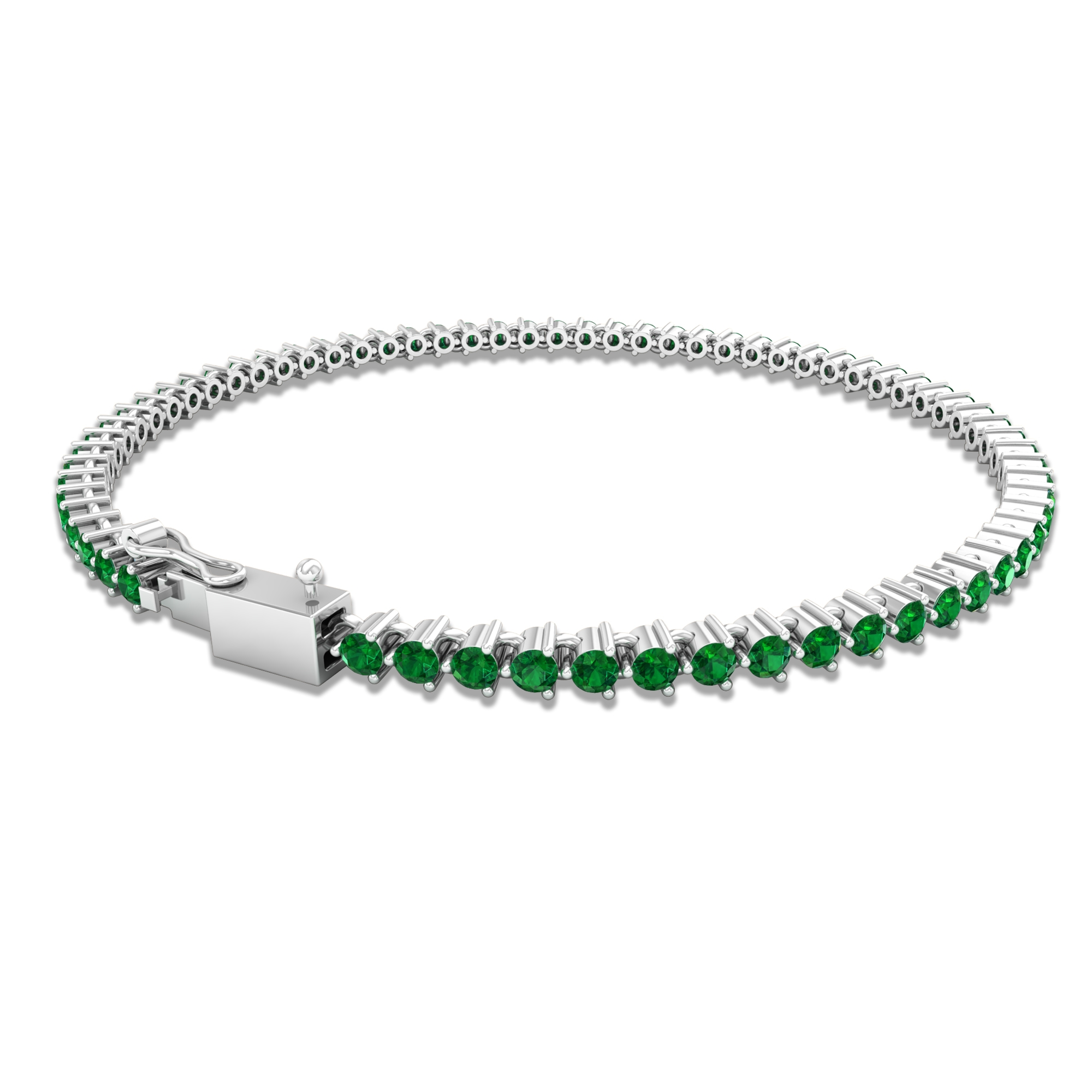 May Birthstone 3.25 CT Emerald Comfort Fit Tennis Chain Bracelet for Women
