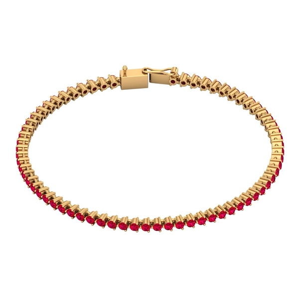 3.25 CT Ruby Comfort Fit Tennis Chain Bracelet for Women