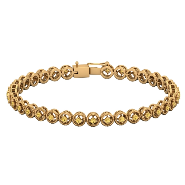 1.50 CT Citrine Unisex Tennis Bracelet with Gold Twisted Rope Detailing