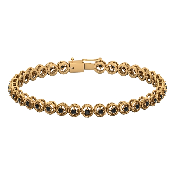1.50 CT Black Onyx Unisex Tennis Bracelet with Gold Twisted Rope Detailing