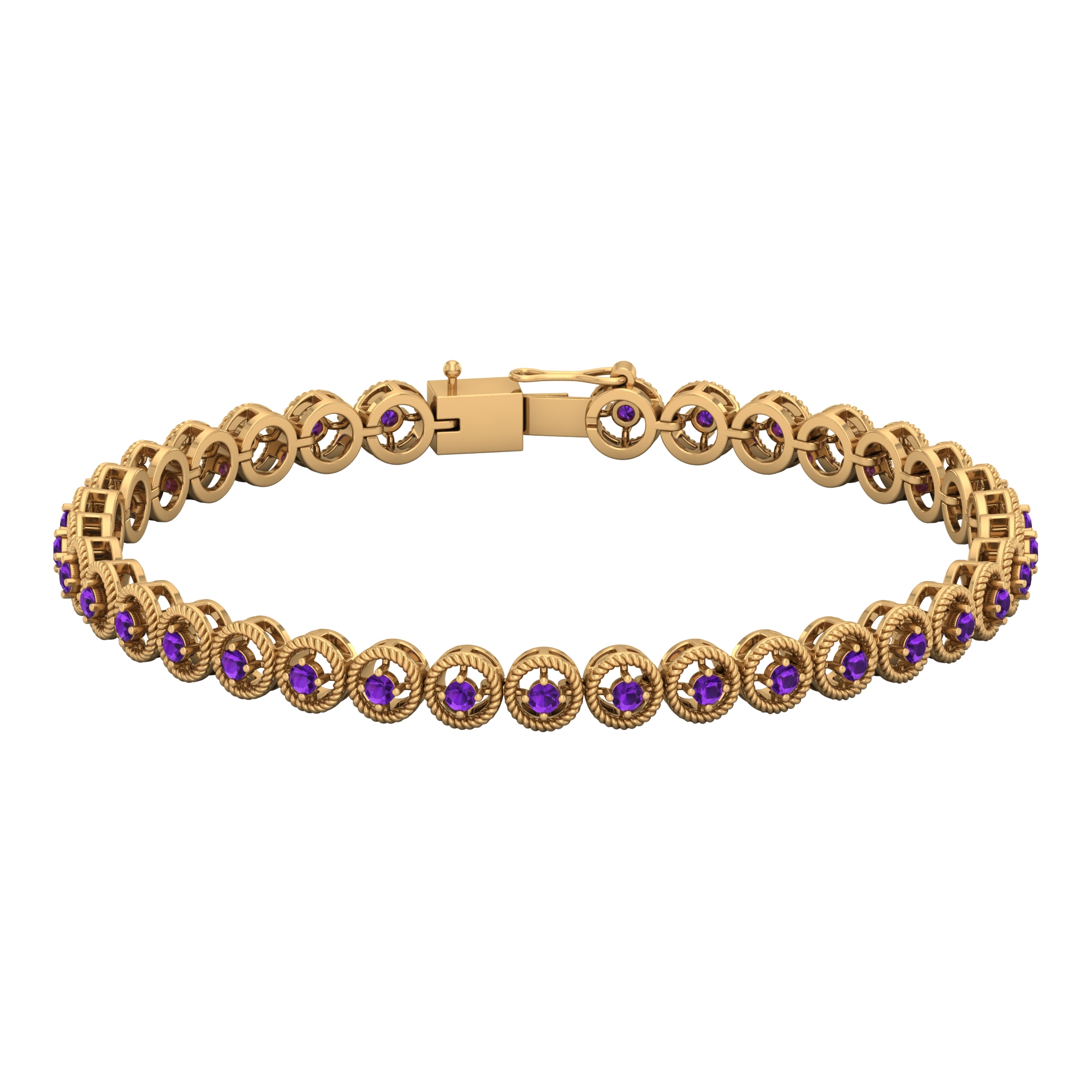 1.50 CT Amethyst Unisex Tennis Bracelet with Gold Twisted Rope Detailing