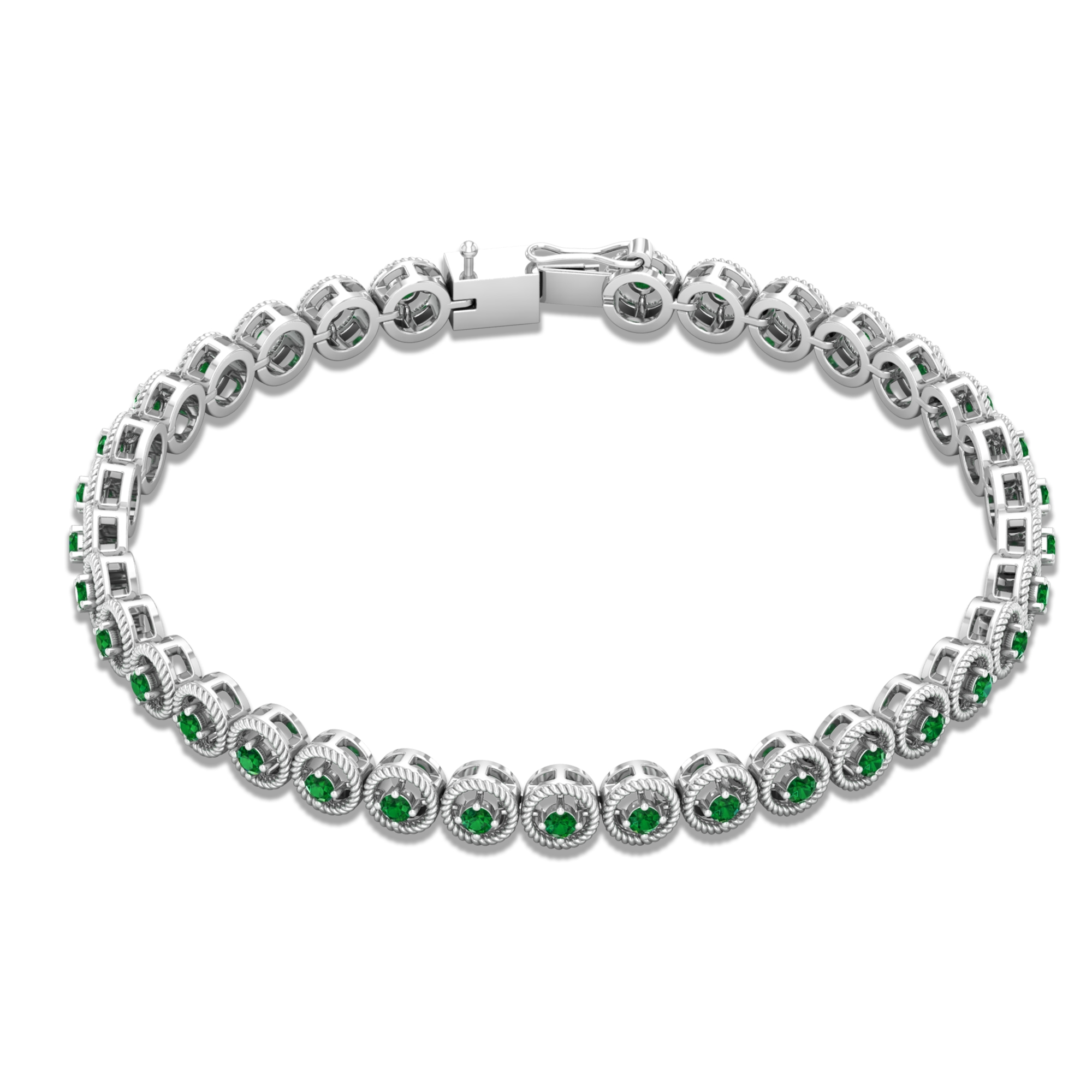 May Birthstone 1.50 CT Emerald Unisex Comfort - Fit Tennis Chain Bracelet with Gold Twisted Rope Detailing