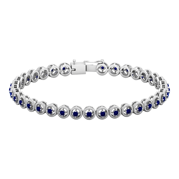1.75 CT Blue Sapphire Unisex Tennis Bracelet with Gold Twisted Rope Detailing