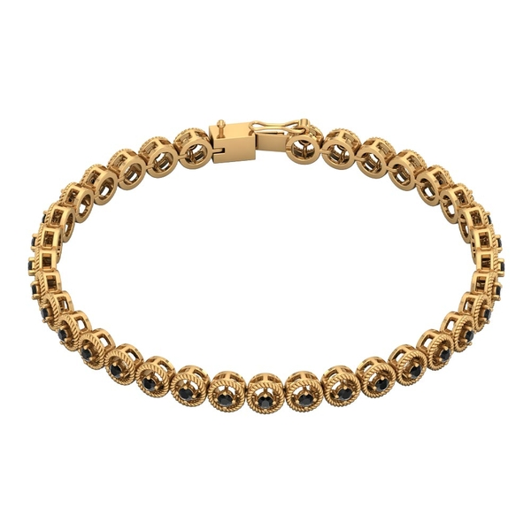 1.25 CT Black Diamond Unisex Tennis Bracelet with Gold Twisted Rope Detailing
