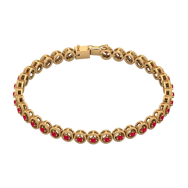 1.75 CT Ruby Unisex Tennis Bracelet with Gold Twisted Rope Detailing