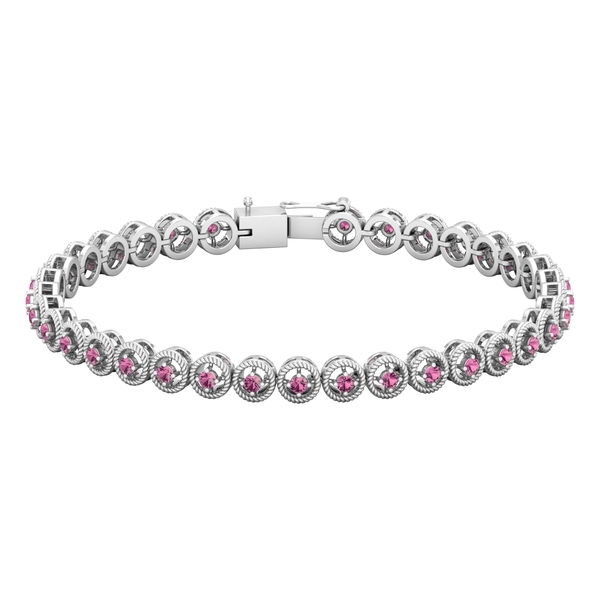 1.50 CT Pink Tourmaline Unisex Tennis Bracelet with Gold Twisted Rope Detailing