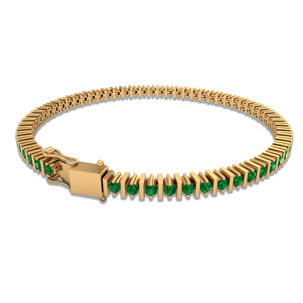 1.50 CT Round Cut Emerald Vintage Inspired Unisex Tennis Bracelet in Prong Setting