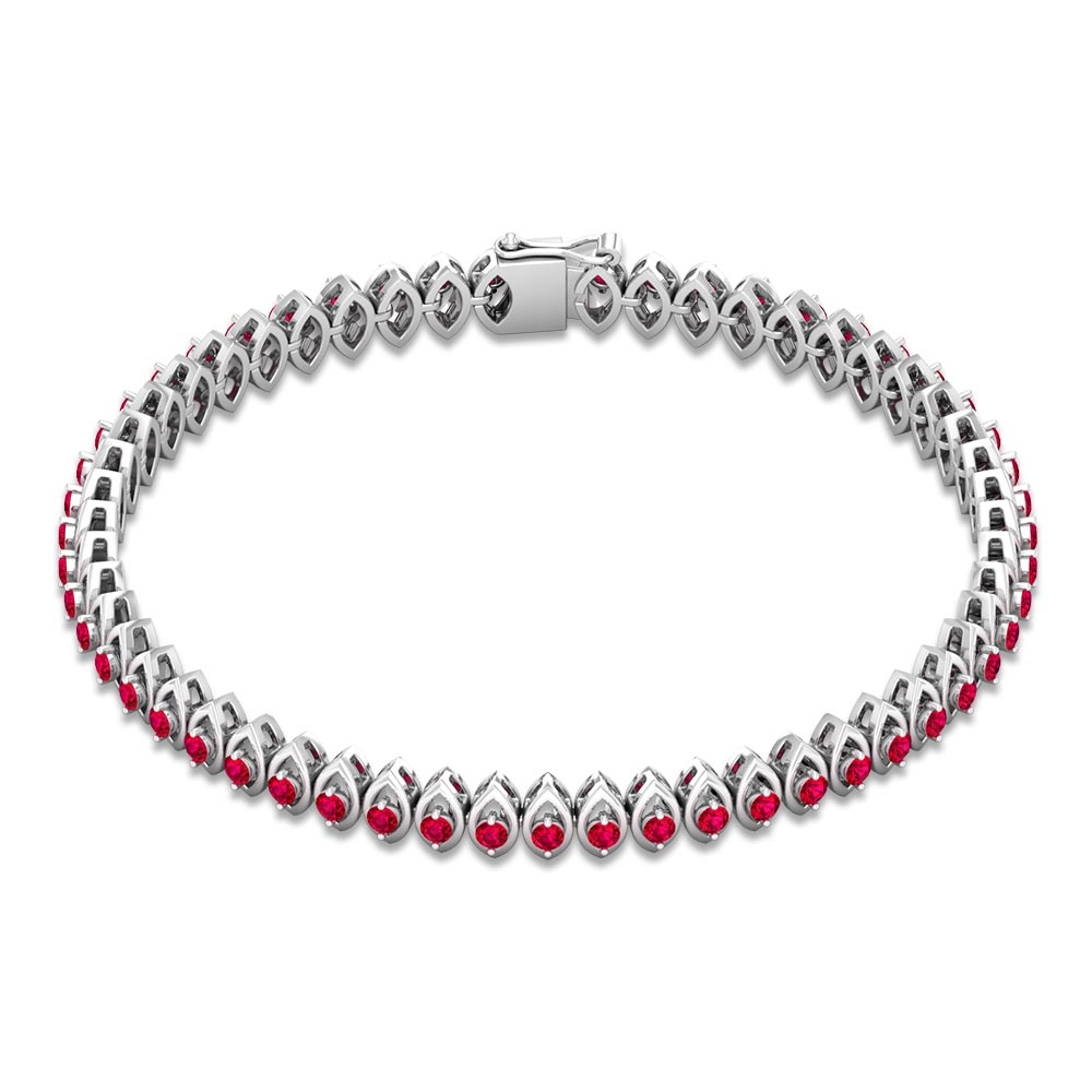 2 CT Round Cut Ruby Tennis Bracelet in Prong Set for Unisex Adult