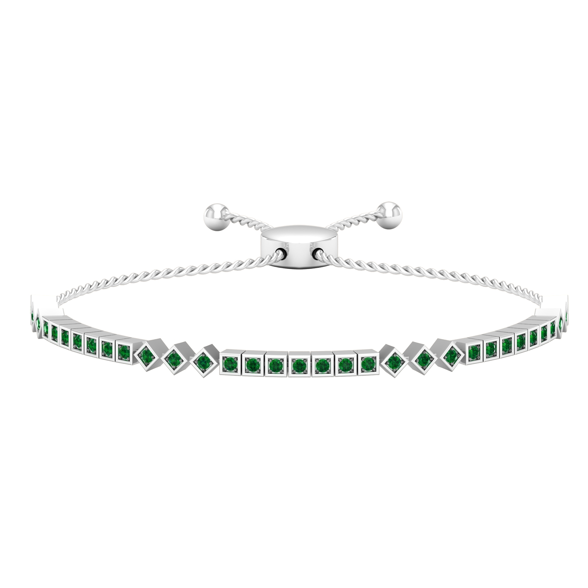 May birthstone 1 CT Emerald Gold Square Shape Tennis Bolo Bracelet for Women