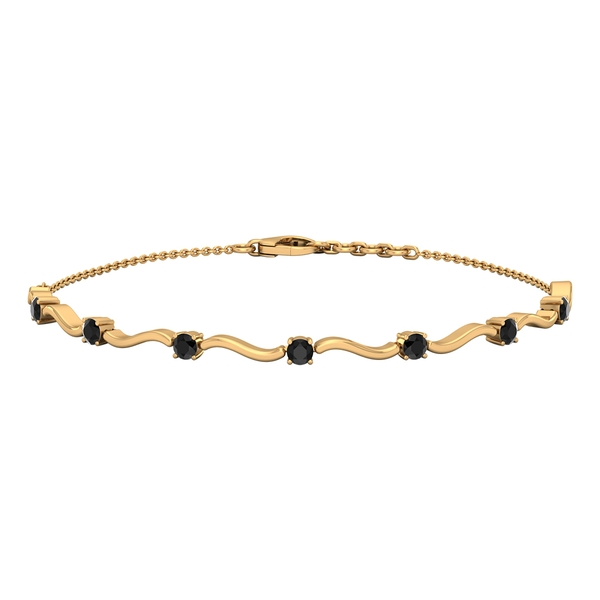 3/4 CT Simple Black Onyx Stacking Style Wave Chain Bracelet for Women