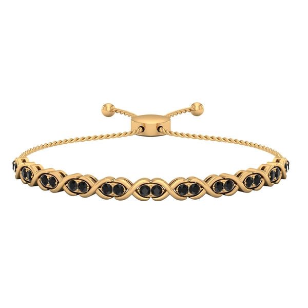 1.50 CT Black Onyx Gold Infinity Tennis Bolo Bracelet for Women with Gold Rope Chain