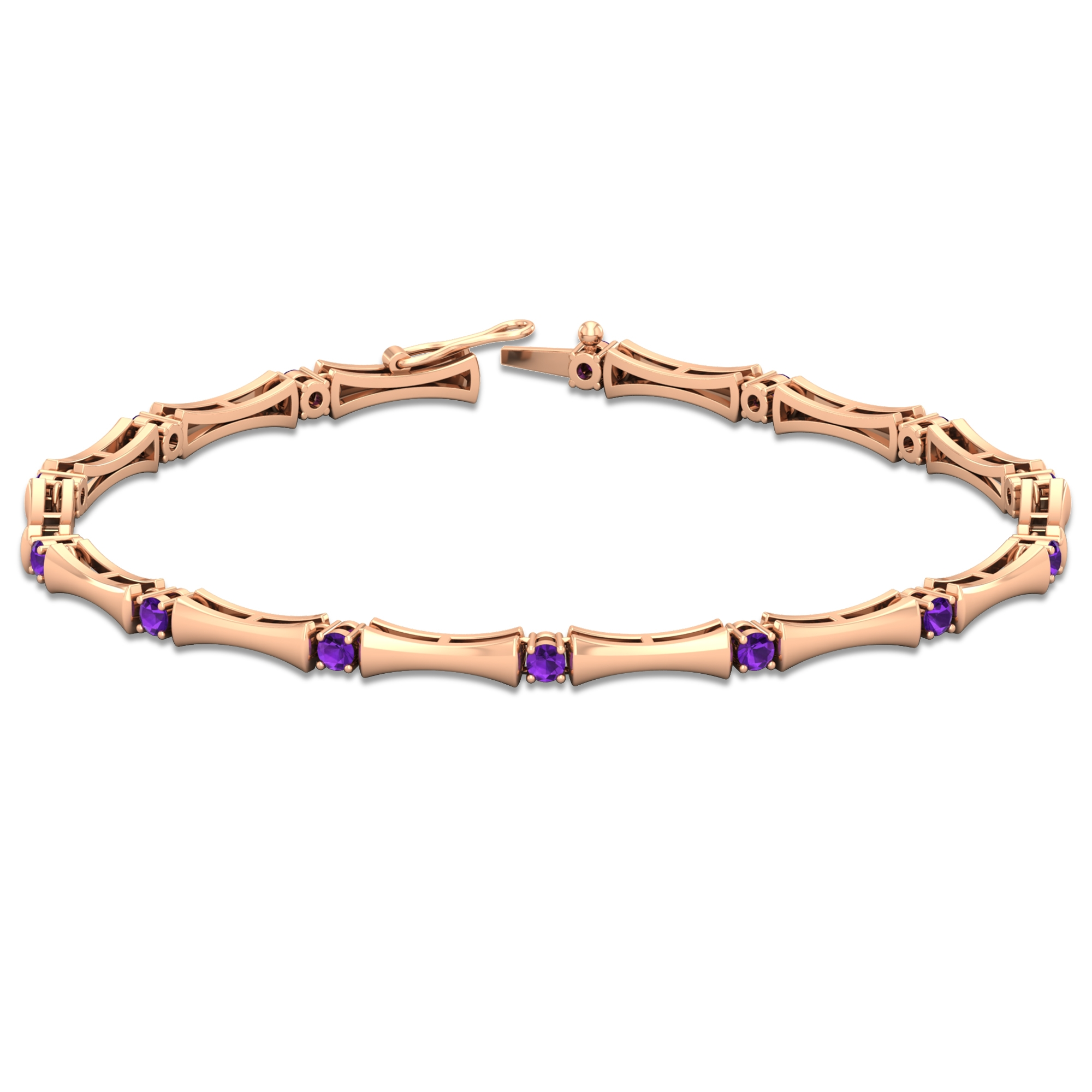 1 CT Amethyst Stacking Style Tennis Bracelet for Women