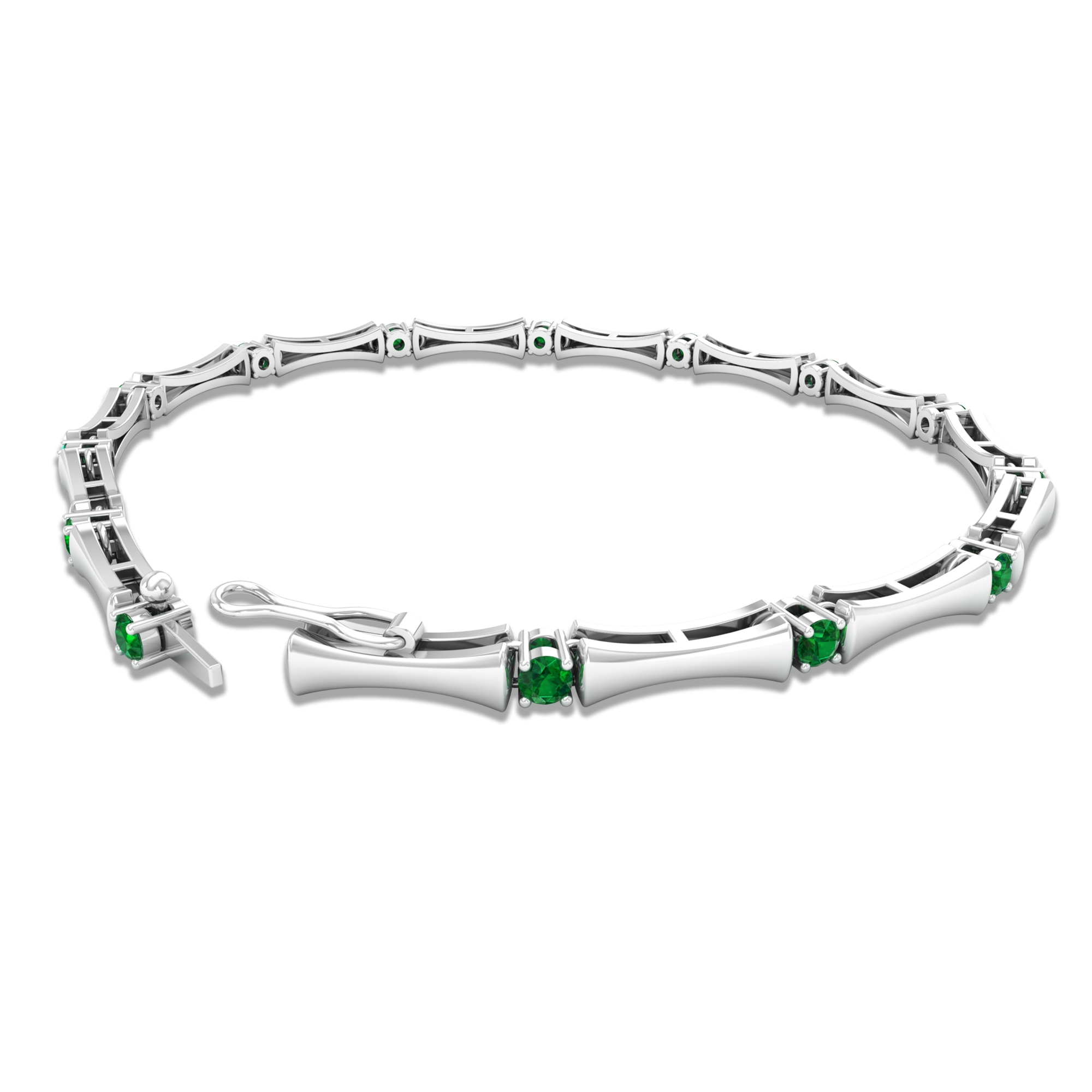 3/4 CT Round Cut Emerald Tennis Bracelet in Prong Setting