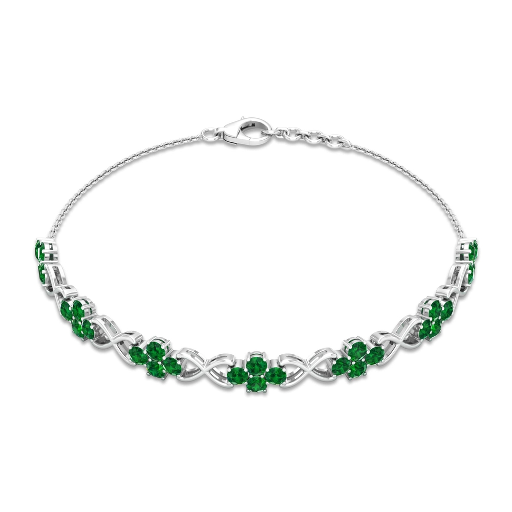 May Birthstone 3.50 CT Emerald Cluster Infinity Bolo Tennis Bracelet for Women