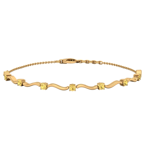 3/4 CT Citrine Stacking Style Wave Chain Bracelet for Women