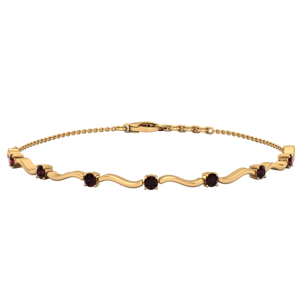 1 CT Garnet Stacking Style Wave Chain Bracelet for Women
