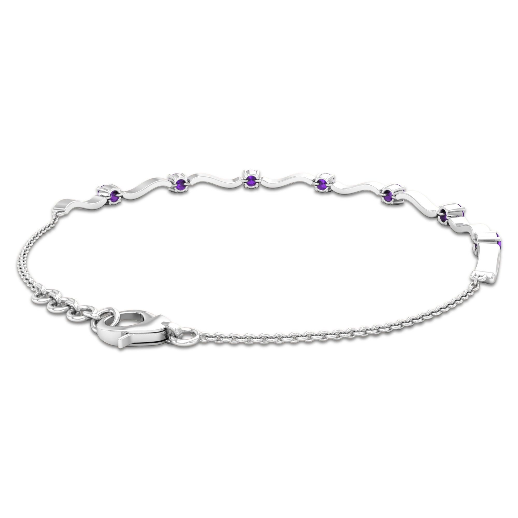 3/4 CT Simple Amethyst Stacking Style Wave Chain Bracelet for Women