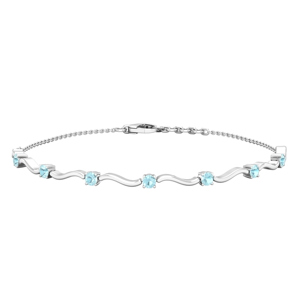 3/4 CT Sky Blue Topaz Stacking Style Wave Chain Bracelet for Women