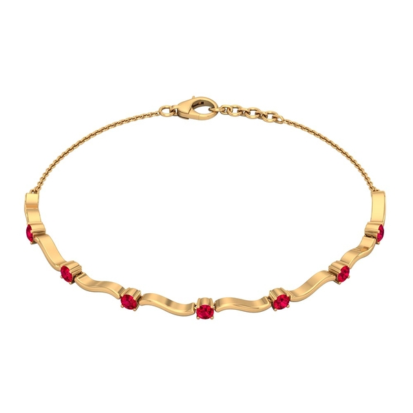 1 CT Simple Ruby Stacking Style Wave Chain Bracelet for Women