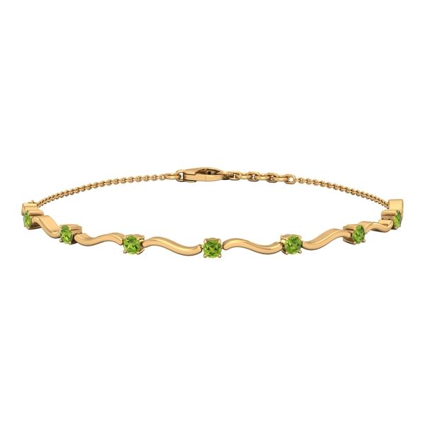 3/4 CT Simple Peridot Stacking Style Wave Chain Bracelet for Women