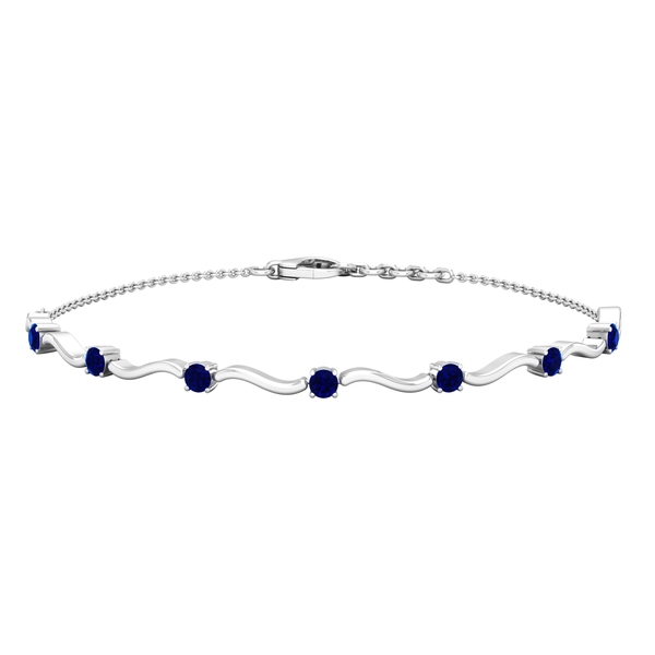 1 CT Simple Blue Sapphire Stacking Style Wave Chain Bracelet for Women